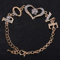 2015 new design fashion bracelets bangles top quality letter L O V E crystal heart bracelet Valentines gift best gift for girl