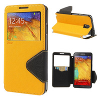Hot selling Roar open window Display case for Samsung Note 3 III N9100 flip leather case for mobile phone bag Screen protector