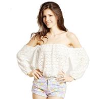6080 2015 European and American lace hollow yarn blouse shorts women blouses three Quarter Slash Neck blusas