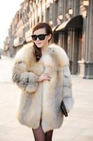 z88 Genuine luxury import fox fur coat jacket for elegant women real furs overcoat winter warm coats casual ladies big outwear