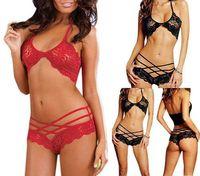 2014 Hot Sale Sexy Woman Lace Sleepwear Halter Underwear Lingerie G-string Black Red Rose
