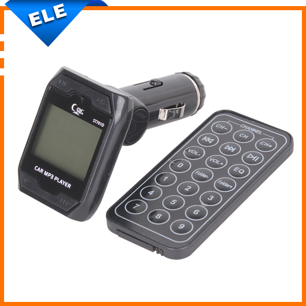 Hot sale 1.4 inch LCD 1.4'' Rotatable Car MP3 Player Wireless FM Transmitter USB Disk SD MMC TF with Remote Control Black(China (Mainland))