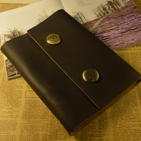 Fashion handmade vintage tsmip first layer of cowhide loose-leaf notebook genuine leather notepad diary new arrival