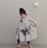 New spring autumn girls' Butterfly dress kids gray girl cotton dress Children print dress