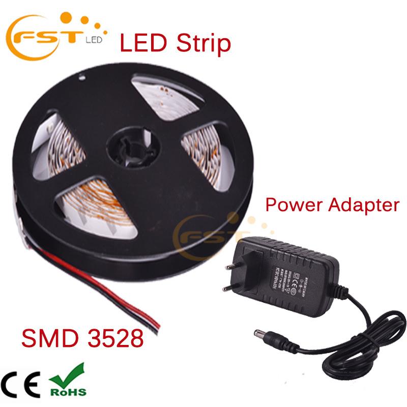 RGB LED strip DC12V SMD3528 flexible light 60LED/m 5m 300LED,Cool/Warm White,Blue,Green,Red,Yellow,RGB +power adapter(China (Mainland))
