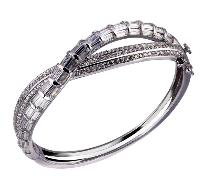 DC1989 Women Gold Platinum Plated Bangles Rectangle Round Cubic Zirconia Deluxe Punk Bracelets Lead Free Bridal Wedding Jewelry(China (Mainland))