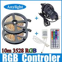 10m 3528 RGB Led Strip Light SMD 5M 300Leds SMD Flexible Strips + 44 key ir Remote Controller +DC 5A 12V transformer WLED51