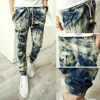 Fashion Men Pants Floral Large Size Mid Rise Cotton Linen Jogger Pants Casual Wear Full Length Trousers
