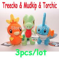 3pcs/lot New Pokemon Plush Toys Treecko & Mudkip & Torchic 20cm Size 2015 New Coming Game Cartoon Toys