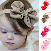 2014 Free shipping!! (4pcs a Lot) Lovely Bowknot Hairband Soft Elastic Headband Hair Accessories for Baby Kids Girls Children