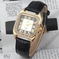 New 2014 Fashion Woman's Charm Rhinestone Watches Golden Case Roman dial Women Dress Watch Quartz Wristwatch Leather Strap