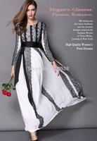 New 2014 autumn winter luxury brand lace long dress floor length long sleeve women vintage fashion casual slim elegant dresses