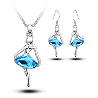 fashion crystal Cute girl The dancing girl pendant bridesmaid jewelry sets 2015