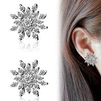 Free Shipping Rhinestone Snowflake Earrings Women Jewelry Christmas Gift 10pairs/lot