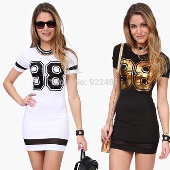 Feitong Большой размер S-XXXL женщины лето свободного покроя с коротким рукавом 98 отпечатано тонкий сексуальный черный / белый платье бесплатная доставка и оптовая продажа