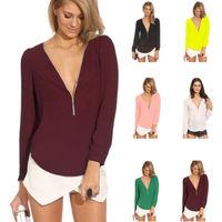 2014 New Fashion Women plus size candy-colored chiffon v-neck long sleeve zipper blouses Women clothing YW002