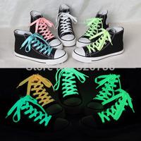 120cm fluorescent shoelace New one pair luminous shoelace glow in the dark color flat shoe laces 5 colors