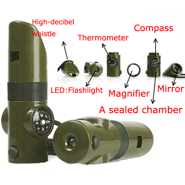 7 in1 Rescue Whistle+LED Light+Compass+Thermometer+Mirror+Magnifier+Storage Box Camping Emergency Survival Whistle PHM112*50(China (Mainland))