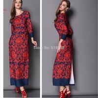 2015 new spring runway brand women fashion dress floor length Hot Sale patterns Print long slit sexy elegant casual Dresses