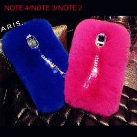 Fur Cover case for samsung galaxy note 4 n9100 note 3 n9000 Luxury Quality Real Rabbit Hair Warm Case note 2 Colorful