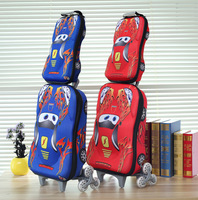 2014 cars children school bag 3 wheeled school bags  backpack trolley luggage cars backpack children luggage set with backpack