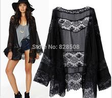 Hot New 2015 mujeres Vintage Hippie de Boho Kimono Cardigan de encaje de ganchillo chaqueta remata la blusa negro Tops de gasa hollow out blusas(China (Mainland))