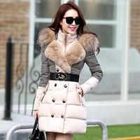 2014 New Fashion winter coat women Luxury raccoon fur collar Double-breasted Patchwork plaid down coat Silm women winter jacket