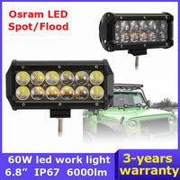 6.8 inch 60W OSRAM LED Work Light Bar Car DC 9~32V Pickup SUV Camper UTV Truck Flood/Spot Beam SUV 4x4 4WD Off Road Light Bar