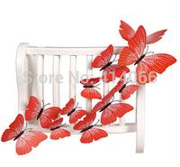 New 12Pcs/Lot Vinyl 3D Red Butterflies For Wall Art Decal Removable Home Decoration DIY Beautiful Wall Stciker Home Decor