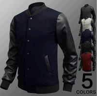 New Men 2014 jacket PU Leather Collar Sweater Personalized Baseball Stitching Clothes Man Jacket Plus Size M-4XL