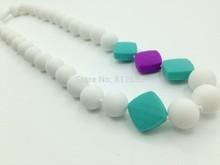 Silicone Nursing Teething Necklace, BPA Free - Turquoise Round ,white.grey Mix colors Beads(China (Mainland))