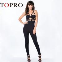 Topro Black Hollow Out  Halter Spaghetti Strap Sexy Jumpsuit  2015 New Fashion Clubwear Bodycon Bodysuit Women Clothing HW0007