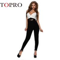 Topro 2015 White Black Monochrome Deep V Neck Sexy Jumpsuits Women Clubwear Belted High Street Sexy Skinny Playsuits HW0182