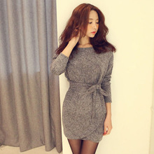 Free shipping 2015 Fashion Sexy Women dresses Bodycon dress Long Sleeves Slim Knitting Mini Dress Tunic Winter European style (China (Mainland))
