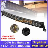 OSRAM Curved LED Light Bar 42 inch 400W Led Work Light Trucks Wagon Cambered DC 9~32V 4WD Hyper Beam Combo 4x4 Offroad Light Bar