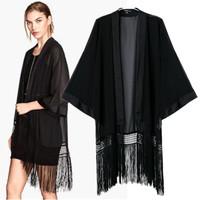 XHD Summer Fashion Women'S 2014 Plus Size Tassel Patchwork Thin Cardigan Chiffon Kimono Outerwear Female Perspective Shirt Tops