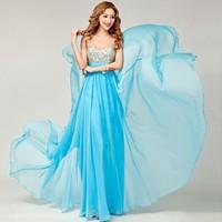 Top Fashion Chiffon Long Formal Evening Dress Crystal Evening Dresses Floor-Length A-Line Formal Evening Dress 0805