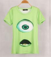 High quality Fashion Women The aliens eyes 3D Printed T shirt Blusas Summer Green Short Sleeve T-shirt Tops Plus Size SML