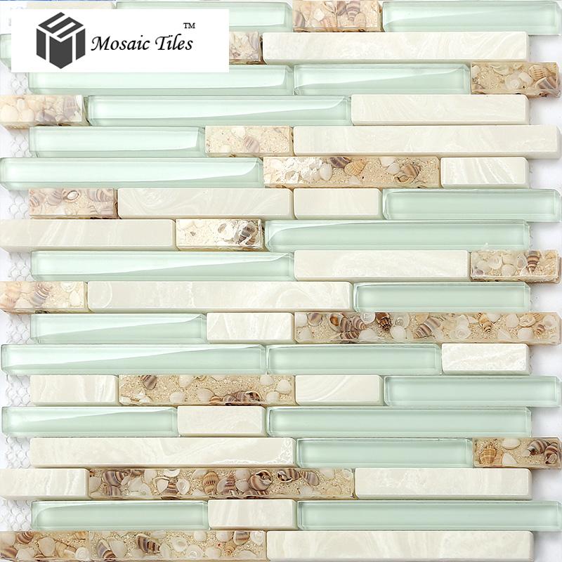 Beach Style Mother Of Pearl Tile Resin Glass Tile Aqua White Stone Marble Til