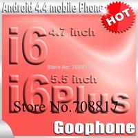 DHL free shipping Goophone i6 phone 4.7 inch i6 plus 5.5 inch Metal quad core MTK6582 IPS 2GB RAM HD Android 4.4 3G WCDMA