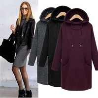 Promotion 2014 New Causal Women Winter Dress Long Sleeve With Velvet Hooded Sexy Dress Vestidos Plus Size 4XL Free Shipping
