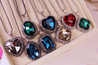 New Design Fashion Retro Atmosphere Heart Square Big Oval Gem Pendant Long Necklace