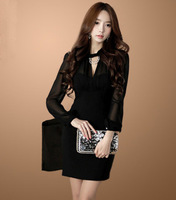 Long-sleeved v-neck perspective of new fund of 2014 autumn winters night package hip sexy tight dress