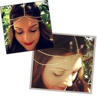NEW women Boho Metal Tassel Head Chain Jewelry Headband Head Piece Hairband Lady Gold Double Layers Chain Headband