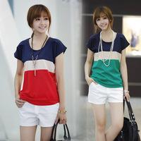 2015 Women Casual Tops Fashion Hot Summer Spell Color Short-sleeved Chiffon Women's Korean Wild Primer Shirt Blusas Femininas