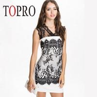 Topro 2015 New Fashion Lace Insert Vintage OL Formal Dress Mini Summer Back keyhold Elegant Office Dress HW0169