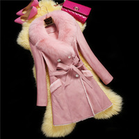 factory 2015 New design high-end women's elegant genuine merino sheep leather with fur coat/jacket with fox fur collar