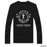 Free shipping Autumn boxing t shirt New Long Sleeve Mens T Shirt Good Quality 100% Cotton Top Tees Clothing