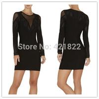 2015 new arrival high quality black mesh long sleeve bandage Celebrity dress Party Evening Dresses HL