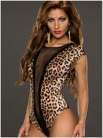Women Sexy Jumpsuit Leopard Print Overalls 2015 New Fashion Ladies Sexy Bodysuit Stretchy Slim Shorts feminino